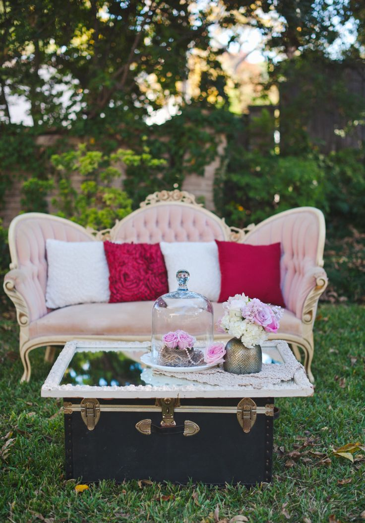 Aldredge House Lounge Area Priscilla Sofa, Rent My Dust lounge area for your vintage wedding at rentmydust.com