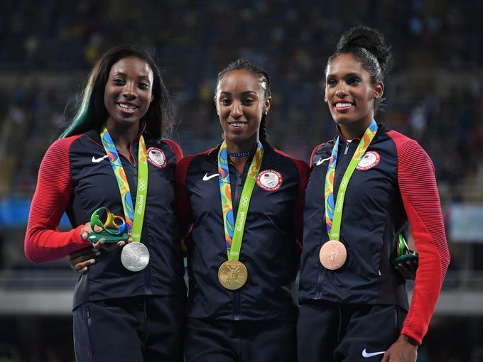 Brianna Rollins won gold, Nia Ali captured silver and