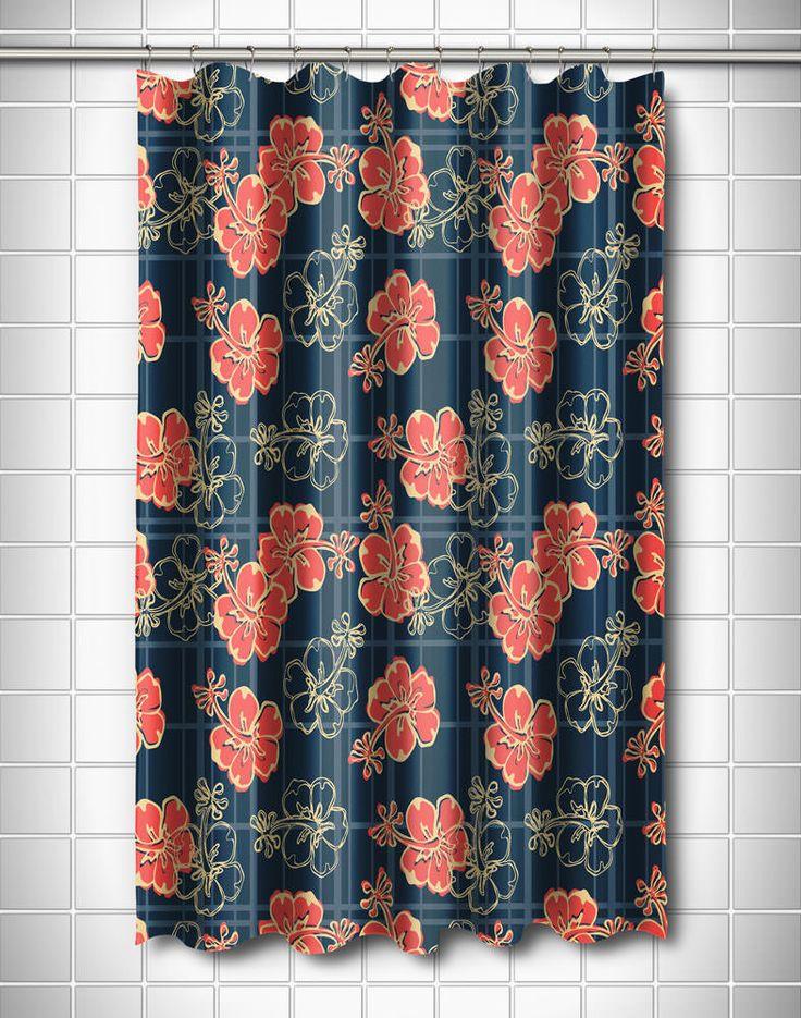 Tropical Hibiscus Plaid Shower Curtain