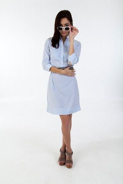 Classic look with wedge sandals.  The ALEX BLACK Collection Laurie shirt dress takes you through the day looking perfectly pulled together, but never overthought.