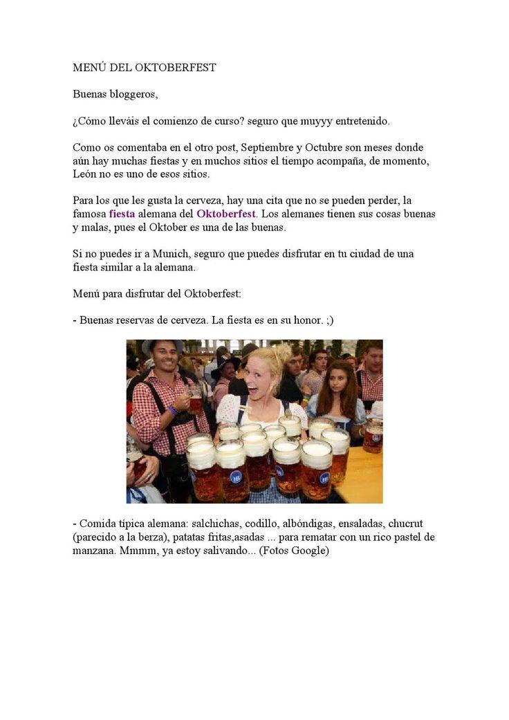 Nueva entrada en el blog #leondisfraces- Menú del #Oktoberfest