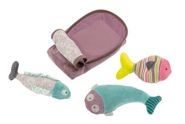 Sardine Activity Toy: A fabric sardine tin full of fun including: a squeaky sardine, a sardine rattle and a crackly paper sardine. - Moulin Roty Les Pachats