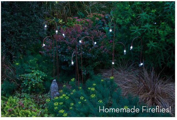 """#DIY """"fireflies"""" for your garden!: Gardens Lights Ideas Diy, Homemade Fireflies, Homemade Outdoor, Diy Gifts, Gardens Projects, Bulbs, Diy Fireflies, Outdoor Fireflies, Crafts"""