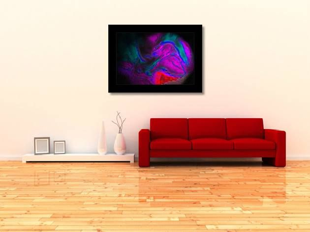Don't be afraid to have a burst of colour as a centerpiece in your lounge. This #Digital #Art works perfectly framed in a simple black flat wood. #Design #decor #photography #photo #home