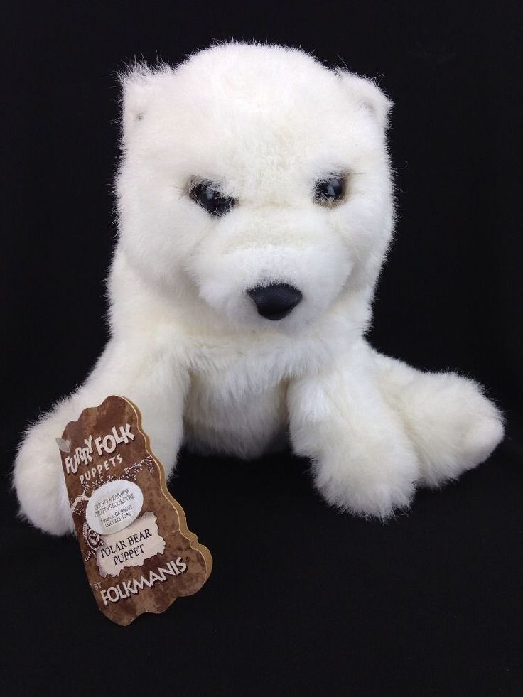 White Polar Bear Hand Puppet  Furry Friends by Folkmanis Puppets With Hang Tag #Folkmanis