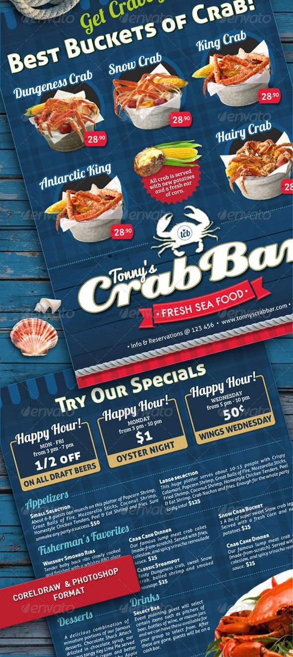 Crab Bar Menu Flyer Template