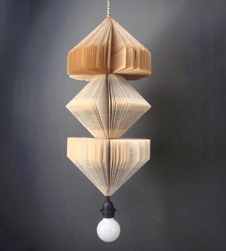 Check out this pendant!! It's handmade out of vintage books, is light weight (less than one pound), and can easily hang from any sized ceiling hook.