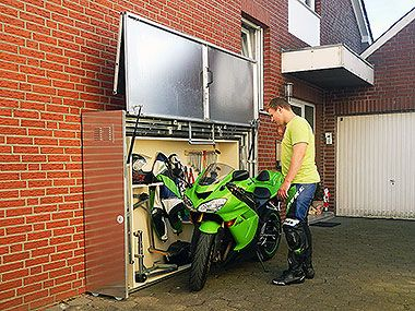 motorrad garage expandable garage for storing motorcycle. Black Bedroom Furniture Sets. Home Design Ideas