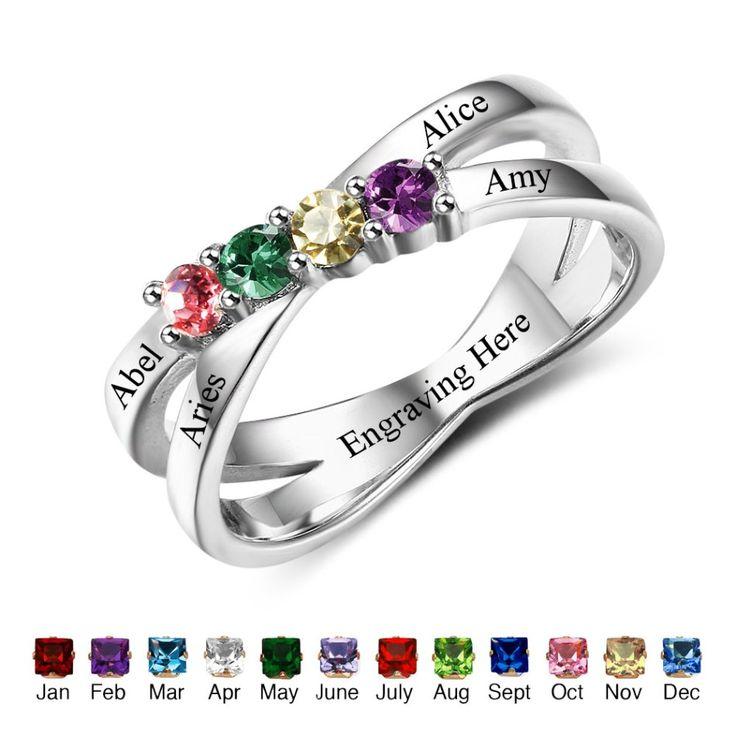 Family & Friendship Gemstone Engraved Ring - Belis Delights