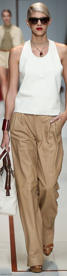 white top, camel pants. @roressclothes closet ideas women fashion outfit clothing style