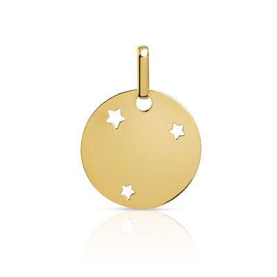 MEDAILLE en or 375, disque rehaussé d'étoiles ajourées.%0AGravure sans vernis noir uniquement.