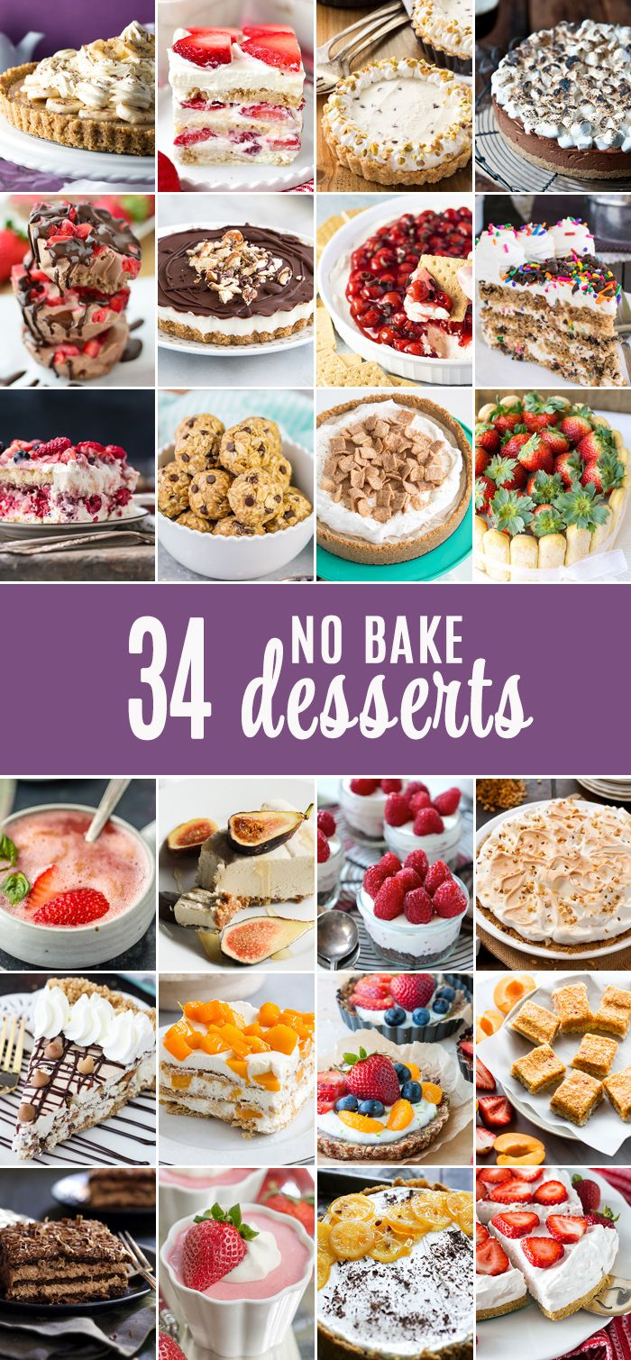 34 of the BEST NO BAKE DESSERTS all in one place! Ice Cream, freezer pies, sweets, dips, fruit, EVERYTHING! Best roundup of no bake sweets for Summer!