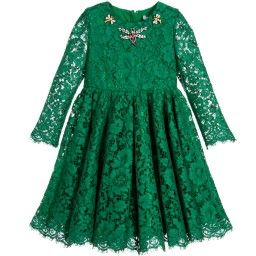 Dolce & Gabbana - Green Lace Dress with Jewelled Insects | Childrensalon
