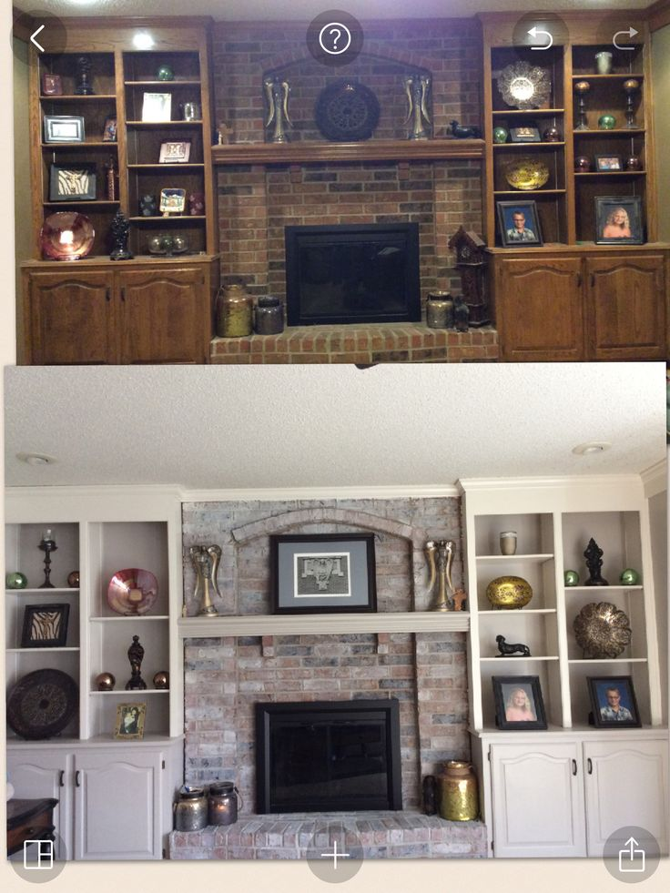 Whitewash fireplace and painted cabinets with Gray and white colors   Totally transformed my family room. 25  best ideas about Whitewash Cabinets on Pinterest   White