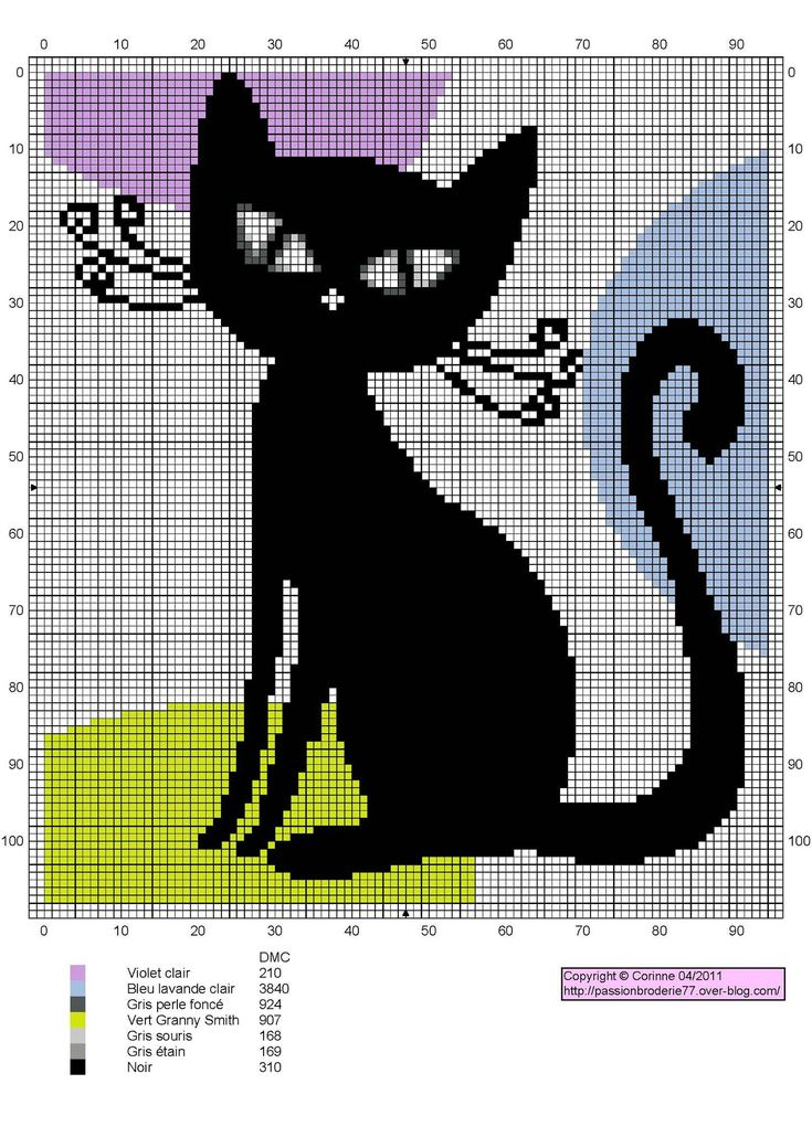 Modern Black Cat Free Cross Stitch Chart Needlepoint Pattern