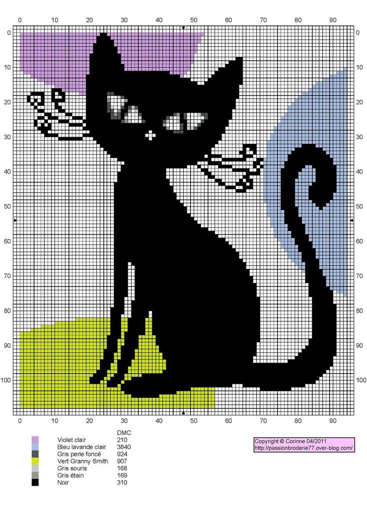 Modern Black Cat Free Cross Stitch Chart Needlepoint Pattern