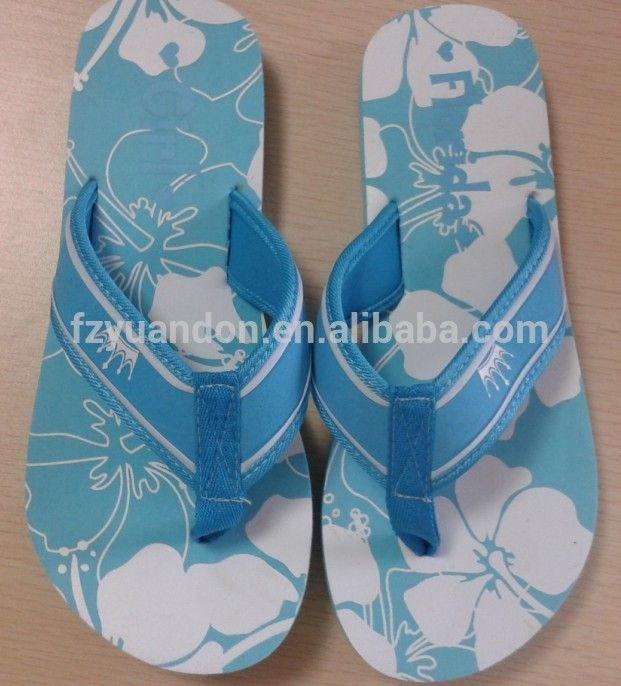 Outdoor Ladies High Press Word Printing Sole Women Pe Flip Flops Cotton Fabric…