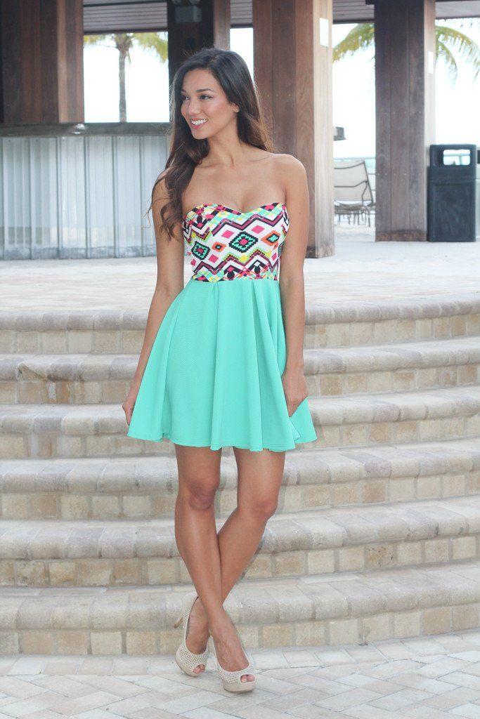 mint aztec short dress
