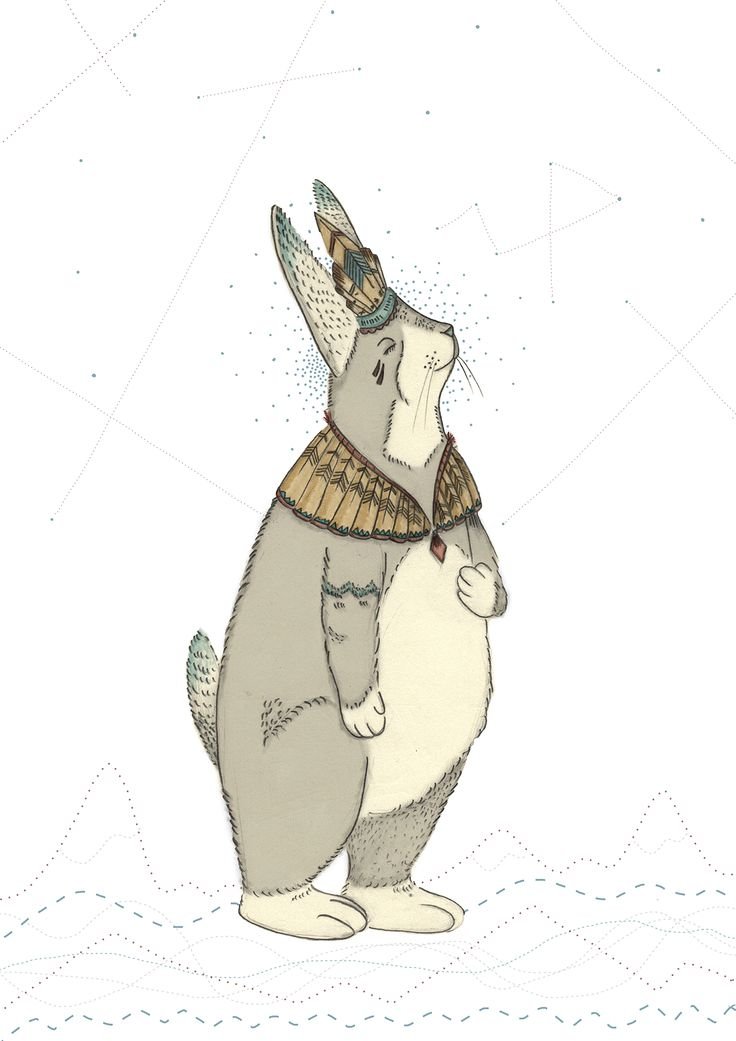 Mr Peacefull #animal #animals #rabbit #bunny #feather #peace #colors #illustration #draw #drawing #universe #grey #print #artist