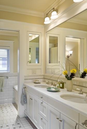 Shingle style home in Hanover NH - traditional - bathroom - burlington - Smith & Vansant Architects PCBathroom Mirrors, Bathroom Design, Subway Tile, Bathroom Ideas, Traditional Bathroom, White Bathroom, Master Bath, Medicine Cabinets, Frames Mirrors