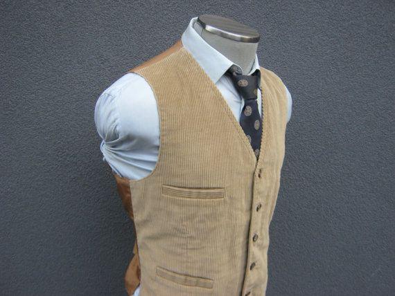 Vintage Wool Blend Waistcoat Vest/ Light Brown / Vest / Waistcoat / Size 42 / Large / L / Lrg / Mens Vest / Excellent wear 06ndWkor