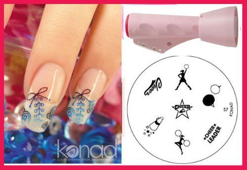 Bundle 3 Items: 1x Konad 2 Way Combo Stamper  Scraper  1x Image Plate S7 Cheerleader - Nail Art   Holiday A-viva Nail Kit (Buffer File Red Box) * Learn more by visiting the image link.