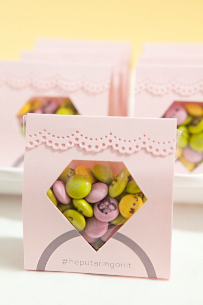 Adorable DIY diamond ring candy pouch favors