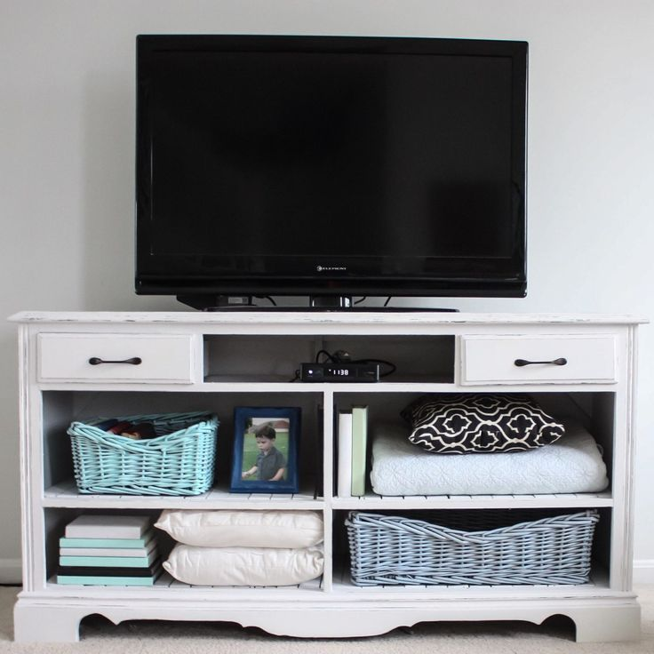How to turn an old dresser into a TV Stand Paint Color Valspar Lilac Muse
