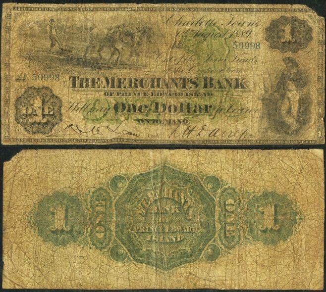Charlottetown, PEI- Merchants Bank of Prince Edward Island $1 Aug. 1, 1889 Ch. # 470-10-04-04