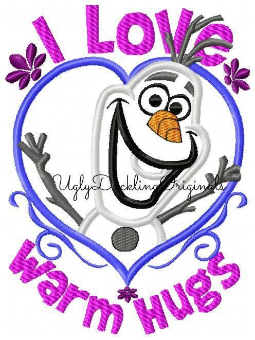 Frozen Olaf Snowman Valentine Warm Hugs Machine by UDOappliques