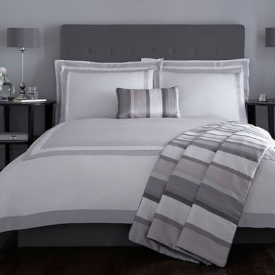 J by Jasper Conran Grey 'Langham' 240 thread count duvet cover | Debenhams