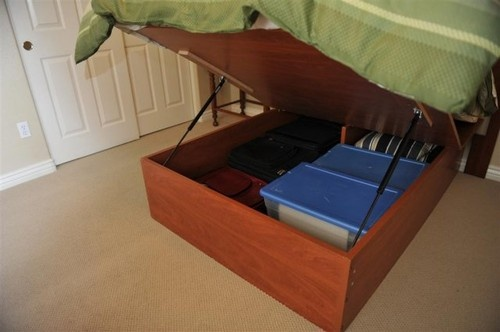 Build your own lift storage bed, DIY Kit Nice to have it deep enough to hold storage bins.