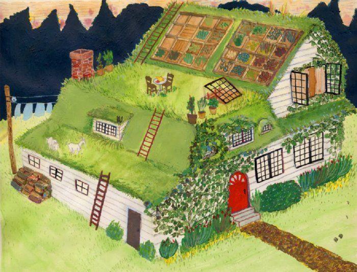Telhado verde, agricultável e terraço para um almoço gostoso.