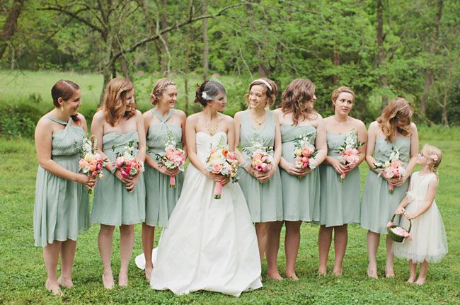 MINT-GREEN bridesmaid dresses via J.Crew.. i like the idea of the mint color. Hmmm