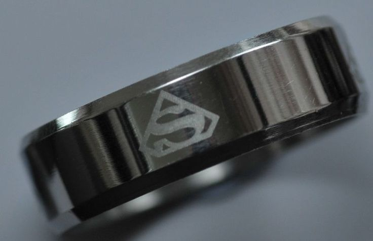 Superman Stainless Steel Ring-Wedding Band 7.5mm width,Silver Tone