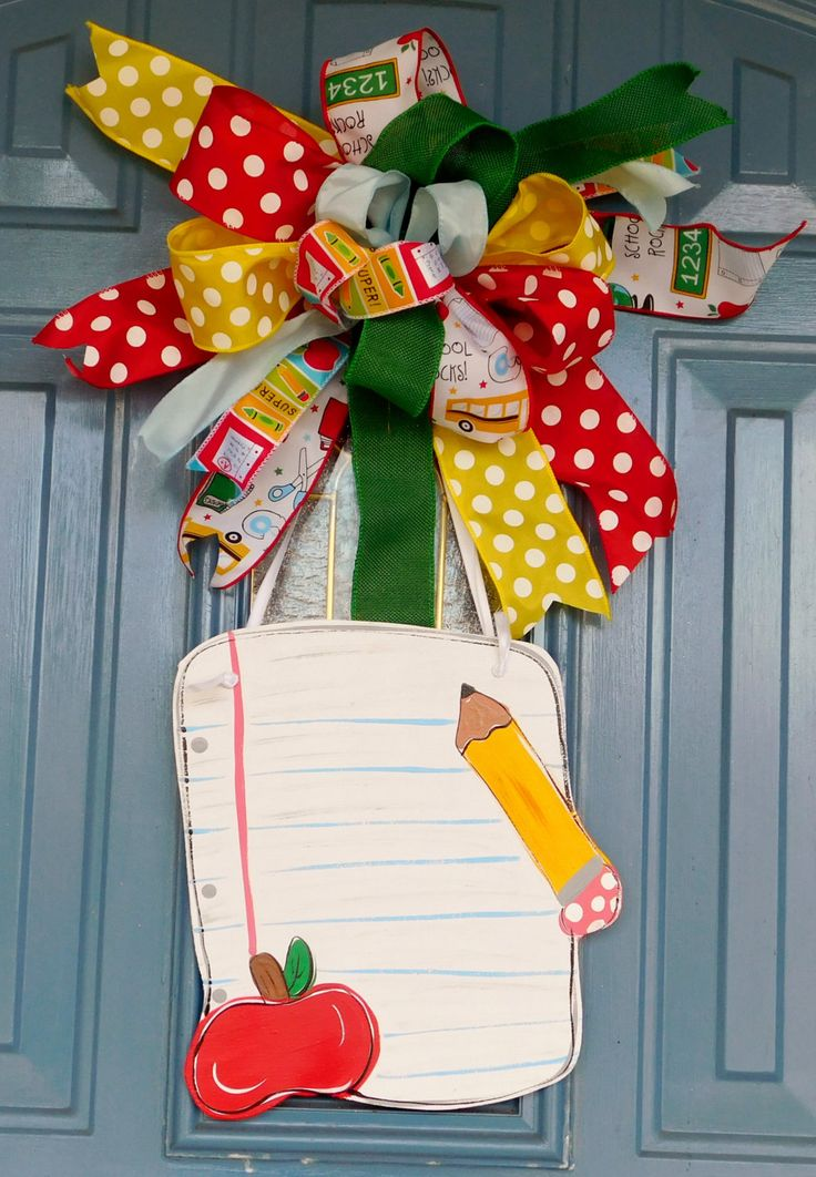 Personalized Teacher Handpainted Wooden Notebook Page with Apple and Pencil Teacher Bow Door Hanger by TwoRoadsDivergedShop on Etsy