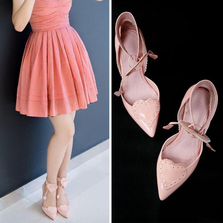 Womens Heart Lace-up Poimty Toe Elegant Kitten Heels Sandals Party Shoes Cute #Unbranded #KittenHeels