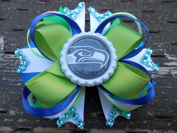 Seattle Seahawks 4 bouticue hair bow on by TheGiftofLovebyLili