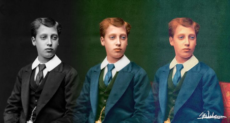 """https://flic.kr/p/BWMUYv   Prince Albert Victor, Duke of Clarence and Avondale. Grandson of Queen Victoria   I love to find black and white photos, add colour and then use the brushstroke app on my phone to """"paint them"""". After all that I blend then together."""