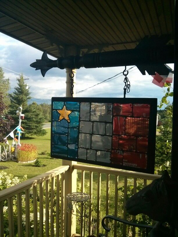 Acadian flag made out of recycled pop and beer cans made by my brother. http://pinterest.com/jihadacadien/