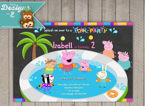 Peppa Pig Pool Party Birthday Invitation  Peppa Pig Summer