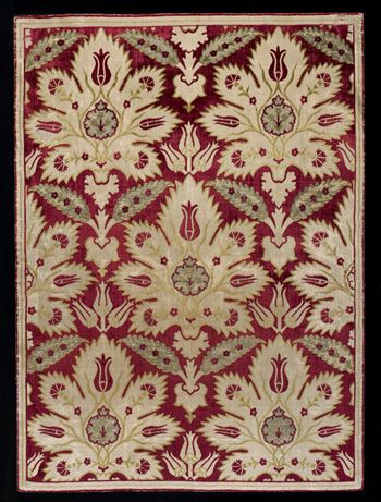 Silk velvet 'yastık' (cushion cover). Motifs: tulips and carnations. Ottoman, 16th/17th century.