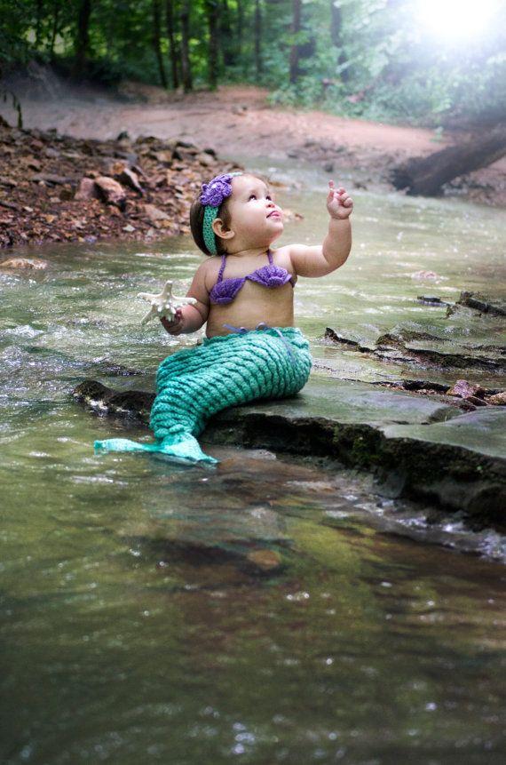 Sirena fotografia Prop de ganchillo Crochet el traje de
