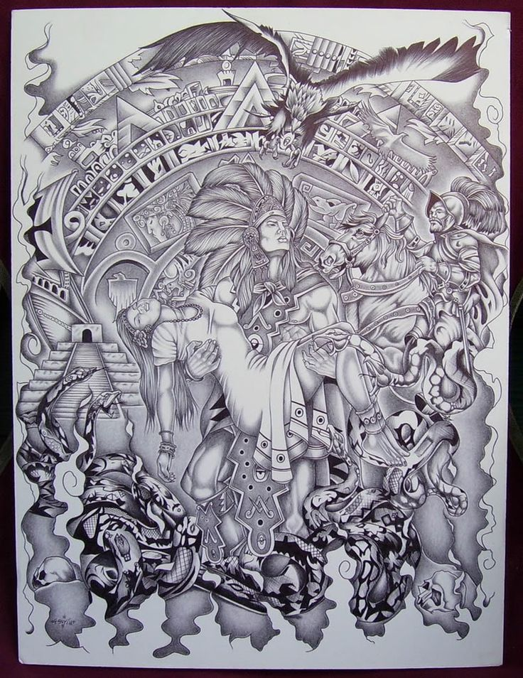 Mexican Aztec Art | Aztec Art Drawings Page 7