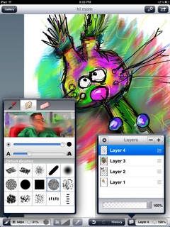 Layers for iPad, a great first app to introduce layers. From blog post, My Top 3 Favorite Art Teacher Apps