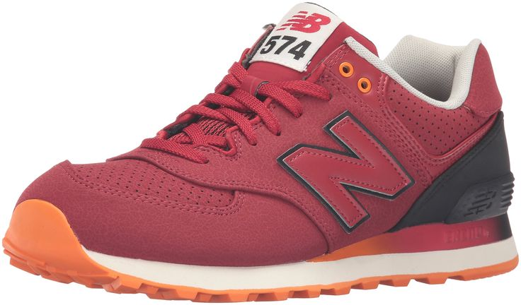 New Balance Men's ML574 Gradient Pack Fashion Sneaker, Red/Black, 14 2E US