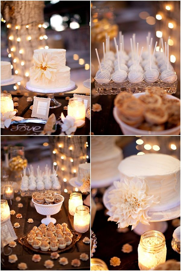 LOVE the idea of having a dessert table instead of just a big cake, that way people can pick and choose their favorites or have a little bit of it everything! Like the lit up jars