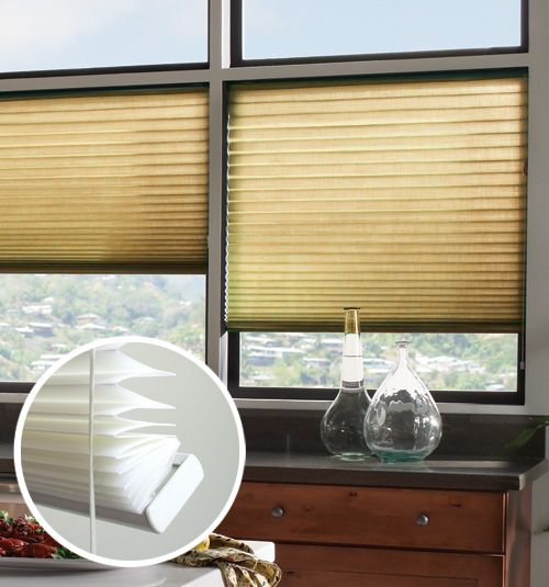 The Blindsgalore No-Holes Pleated Shade collection features a crisp folded shade without the unsightly occurrence of lift cord holes running down the front of the shade.