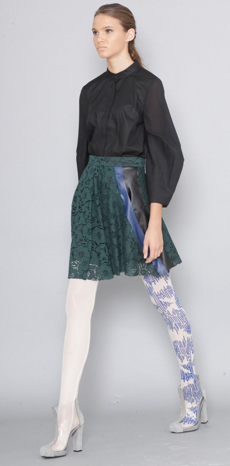 Lena Criveanu Magazin Online Fashion Designer Creatoare De Moda Fusta Dantela Verde Colectie Blue  http://shop.lenacriveanu.ro/