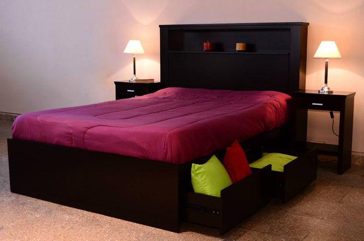 L nea de dormitorios teresa posee una base de cama con for Cama queen size con cajones